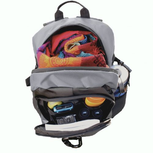 Day Pack Backpack Grey open