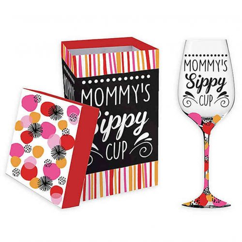 Mommy's Sippy Cup Wine glass with Box