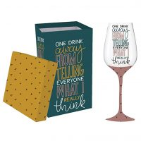 One Drink Away Wine Glass with box