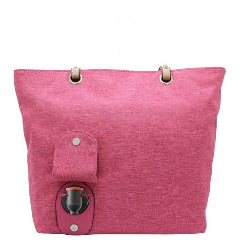 Wine Tote Pink back open