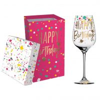 Happy Birthday - Stemmed Wine Glass