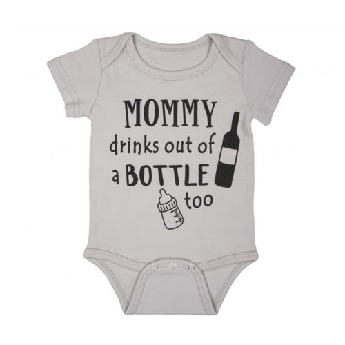 Mommy drinks out of a bottle too - Baby Onesie