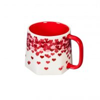 Raining Hearts Ceramic Geometric Shaped Cup